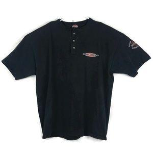 Harley-Davidson T-Shirt 3 Button XXL Black Orange